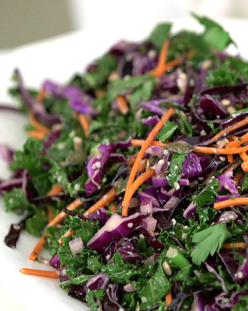 Kale, Red Cabbage and Carrots Slaw