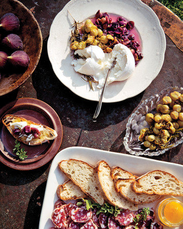 Roasted Grape and Burrata Crostini