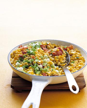 Sauteed Corn, Bacon, and Scallions