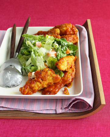 Buffalo Chicken Strips With Blue Cheese Salad