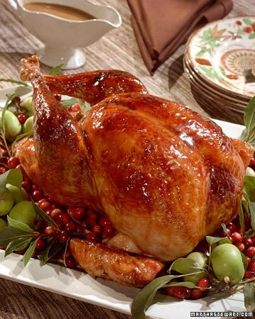 Cranberry-Glazed Turkey with Cranberry-Cornbread Stuffing