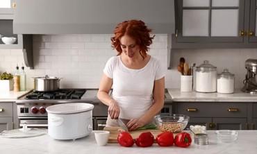 Making Slow-Cooker Greek Stuffed Peppers