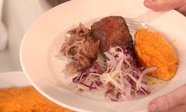 Carrot Souffle and Skillet Slaw