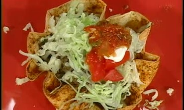 Taco Salad with Crispy Tortilla Shells