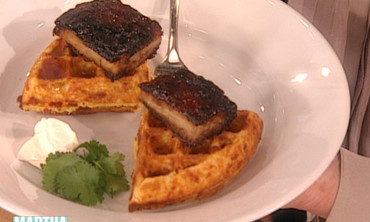 Pork Belly and Cheddar-Chile Waffles