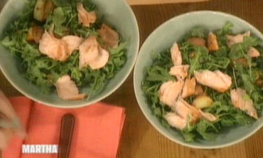 Arugula Salad with Roasted Salmon