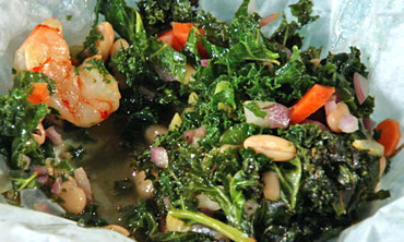 Shrimp with Kale and White Beans