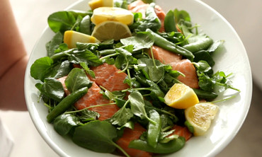 Poached Salmon with Peas