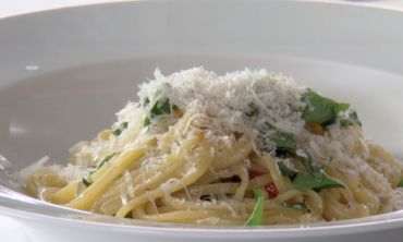 One Pot Dinner with Linguine, Tomatoes, Basil, and Parmesan Cheese