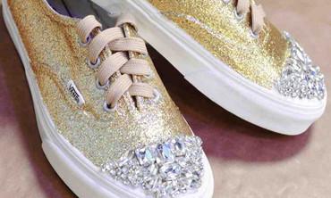 DIY Glitter and Rhinestone Sneakers
