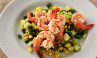 Poached Shrimp on Succotash