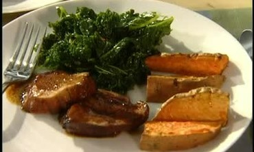 How to Make Sweet Potato Wedges and Kale
