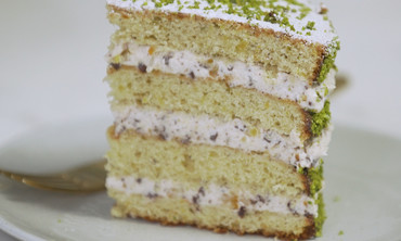 Pistachio Cake with Cannoli Frosting