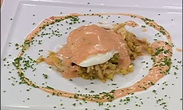 Choron Sauce with Poached Eggs