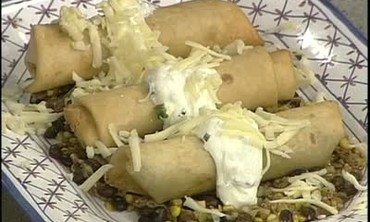 Fried Burritos with Corn Sauce