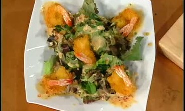 Fried Shrimp with Salad Greens