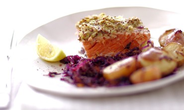 One-Pot Roasted Mustard Salmon