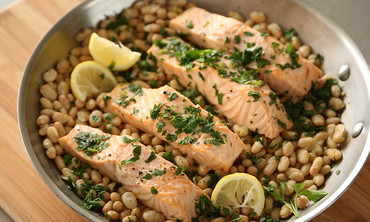 Steamed Salmon and White Beans
