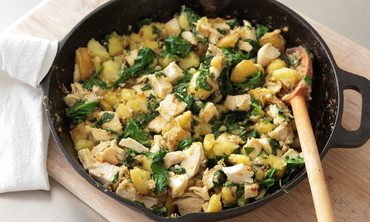 Chicken, Potato, and Spinach Hash