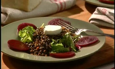 Cooking Lentil Salad with Beets