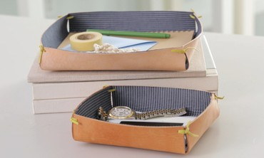 Fabric and Leather Catchall Tray