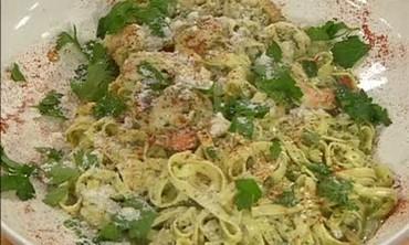 Pesto Cream Shrimp with Linguine