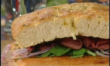 Roast Beef and Focaccia Sandwich