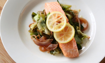 Salmon with Escarole and Lemon