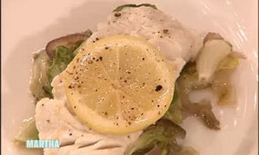 Steamed Cod on a Bed of Escarole