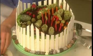 Decorating the Spring Garden Cake