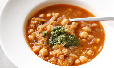 Hearty Chickpea Stew with Pesto