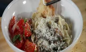 Mushroom Pasta and Pomodoro Salad