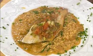 Branzino Fish with Arugula Risotto