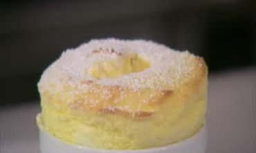 Lemon Souffle with Raspberry Sauce