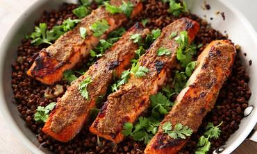 Mustard-Glazed Salmon with Lentils