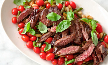 Skirt Steak with Warm Bean Salad