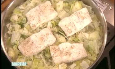 Steamed Green Cabbage with Halibut
