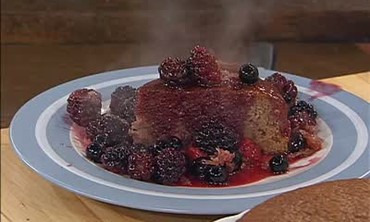 Strawberry Cake with Berry Compote
