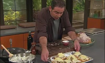 Emeril Assembles Hot Brown Sandwich
