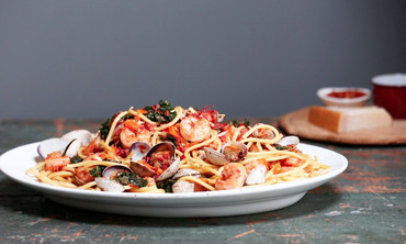 Emeril's Shrimp, Clams, Kale and Pasta