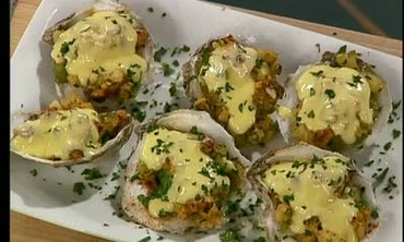 Baked Oysters with Mirliton Stuffing