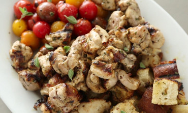 Chicken, Tomato, and Bread Cube Kabobs