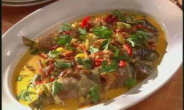 Trout with Cream, Chorizo and Peppers