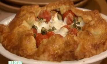 Cherry Tomato Mozzarella Zucchini Pie