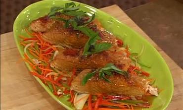 Delicious Cedar Plank Salmon Parmesan