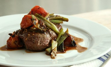 Grilled Flatiron Steak with Scallions