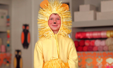 Paper-Made Lion Costume for Halloween