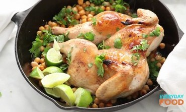 Spatchcocked Chicken with Chickpeas
