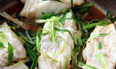 Steamed Cod with Ginger and Scallions