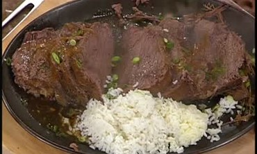 Braised Beef with Gravy and Rice Pilaf